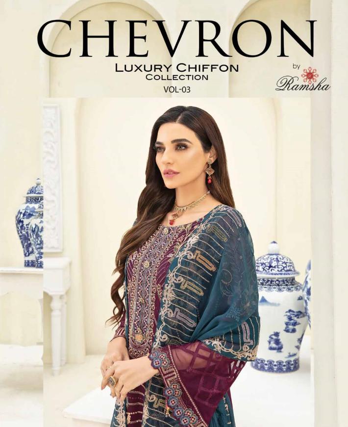 Ramsha Chevron Chiffon